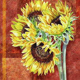 Irina Sztukowski - Decorative Sunflowers Painting