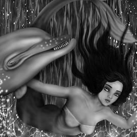 Raphael Lopez - Deep Sea Mermaid - Black and White Fantasy Art