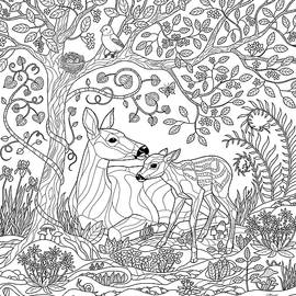 Deer Fantasy Forest Coloring Page by Crista Forest