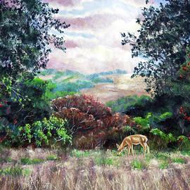 Deer on a Hilltop Vista - Laura Iverson
