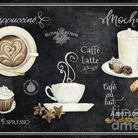 Deja Brew Chalkboard Coffee Cappuccino Mocha Caffe Latte by Audrey Jeanne Roberts