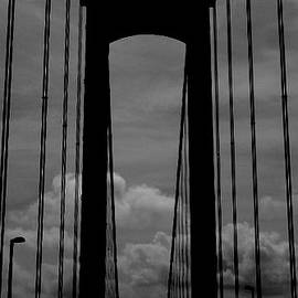 Delaware Memorial Bridge - B and W by Arlane Crump