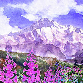 Denali with Fireweed by Teresa Ascone