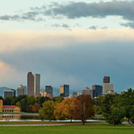 Gregory Ballos - Denver Skyline Autumn Sunrise Panorama