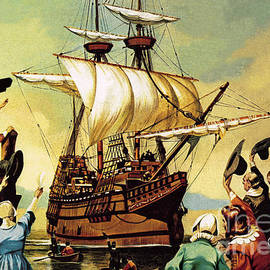 Departure of the Pilgrim Fathers for America  - Ron Embleton