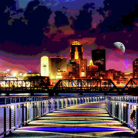 Des Moines Grays Bridge Nightscape by Mary Clanahan
