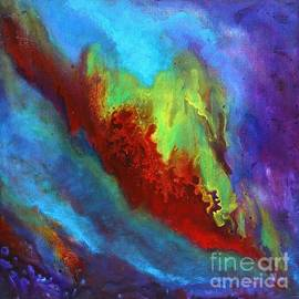Desire a vibrant colorful abstract painting with a glittering center  by Manjiri Kanvinde