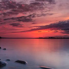 Detroit Point Sunset Rocks by Ron Wiltse
