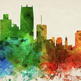 Detroit Skyline Panorama USMIDE-PA03 - Aged Pixel