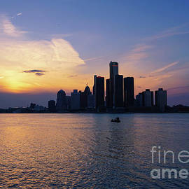 Detroit Skyline Sunset 1 by Rachel Cohen