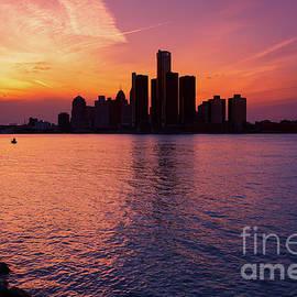 Detroit Skyline Sunset 3 by Rachel Cohen