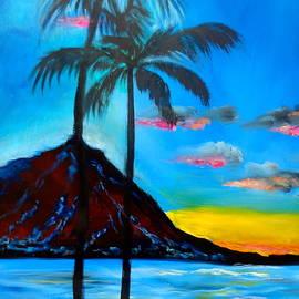 Diamond Head and Palm Trees by Jenny Lee