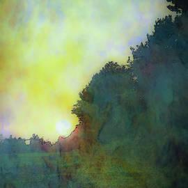 Digital Watercolor Sunset Between Crops 4387 W_2 by Steven Ward