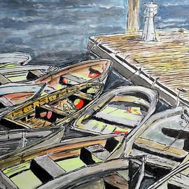 Dinghies At The Dock by Michele A Loftus