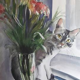Vali Irina Ciobanu - Do you see me? Pet portrait in watercolor .Modern cat art with flowers