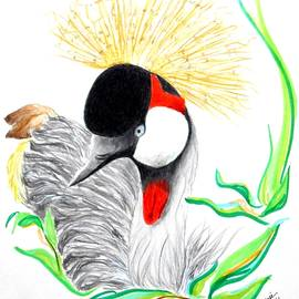 Does This Hat Make My Beak Look Too Big? -- Drawing of Crowned Crane by Jayne Somogy