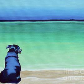 Black Lab Dog On The Beach by Robyn Saunders