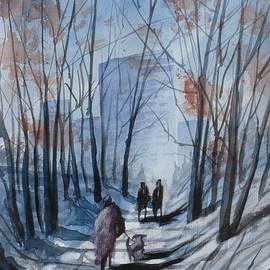 David K Myers - Dog Walking 2, Watercolor Painting