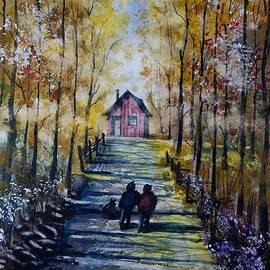 David K Myers - Dog Walking 4 Watercolor