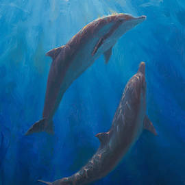 Dolphin Dance - Underwater Whales - Ocean Art - Coastal Decor by K Whitworth