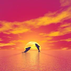 Dolphins by sunset - 3D render by Elenarts - Elena Duvernay Digital Art