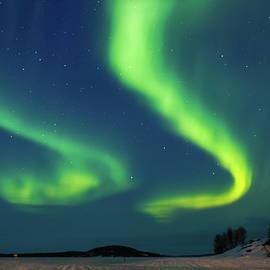 Double Aurora Above Frozen Lake Inari Finland by Adam Rainoff
