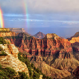 Double Rainbow At Grand Canyon North Rim by Carolyn Derstine