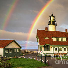 Benjamin Williamson - Double Rainbow at Portland Head Light
