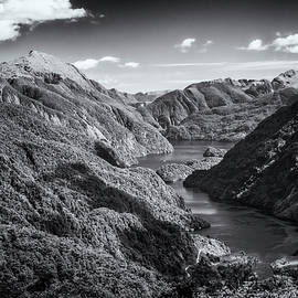 Doubtful Sound New Zealand from Wilmot Pass BW by Joan Carroll