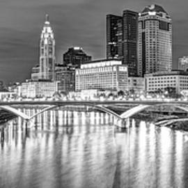 Gregory Ballos - Downtown Columbus Ohio Skyline Panorama at Night - Black and White