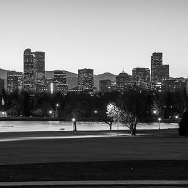 Gregory Ballos - Downtown Denver Colorado Skyline Black and White 1x1