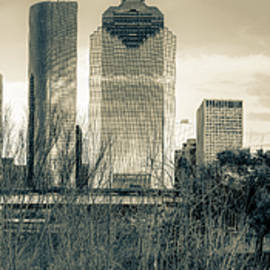 Gregory Ballos - Downtown Houston Skyline Panorama in Sepia