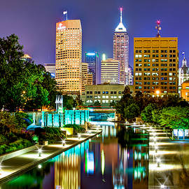 Gregory Ballos - Downtown Indianapolis at Night - Canal Walk Skyline View