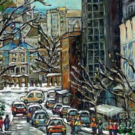 Downtown Montreal Memories Winter City Scene Mcgill Paintings Canadian Art Carole Spandau            by Carole Spandau