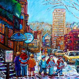 Carole Spandau - Downtown Montreal Winter Scene Painting For Sale View Of Mcgill And Mount Royal C Spandau Hockey Art