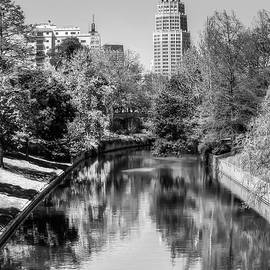 Gregory Ballos - Downtown San Antonio Skyline on the River in Black and White