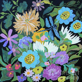 Dragonfly And Flowers by Robin Maria Pedrero