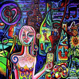 Dragonfly Girl With Wine And Grapes WallBall 2018 Poster Edges by Genevieve Esson