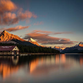 Dramatic Sunset at Maligne Lake by Pierre Leclerc Photography