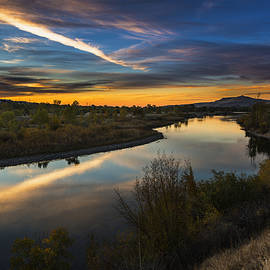 Vishwanath Bhat - Dramatic Sunset over Boise River Boise Idaho