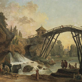Draughtsman Drawing the Wooden Bridge in the Park of Mereville - Hubert Robert
