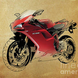 Ducati 1098, red motorcycle, vintage background by Drawspots Illustrations