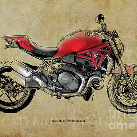 DUCATI MONSTER 1200, 2014, red motorcycle, gift for husband, gift for bikers by Drawspots Illustrations