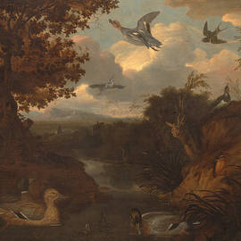 Ducks and Other Birds about a Stream in an Italianate Landscape - Francis Barlow