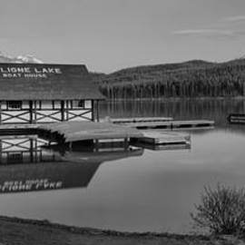 Dusk At The Maline Lake Boathouse Black And White by Adam Jewell