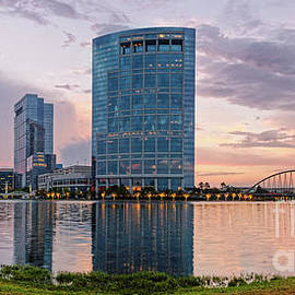 Silvio Ligutti - Dusk Panorama of The Woodlands Waterway and Anadarko Petroleum Towers - The Woodlands Texas