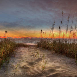 Early Morning Footprints in the Sand by Debra and Dave Vanderlaan