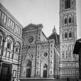 Joan Carroll - Early Morning Piazza del Duomo Florence Italy BW