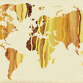 Earth Canvas Watercolor World Map - Irina Sztukowski