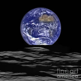 Earthrise From Lro Spacecraft by Science Source